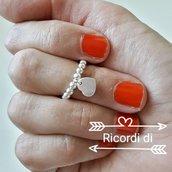 Anello in argento 925 con ciondolo cuore