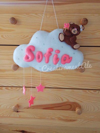 Fiocco nascita - Nuvoletta con orsetta