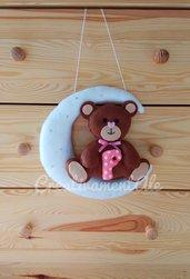 Fiocco nascita - Luna con orsetta