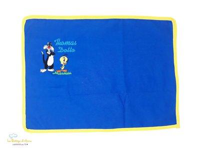 TOVAGLIETTA ALL'AMERICANA in cotone, color blu bordo giallo - con ricamo Titti e Silvestro - personalizzabile con il nome