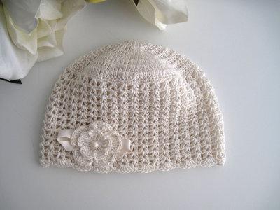 Cappellino neonata uncinetto cotone color crema cerimonia nascita battesimo
