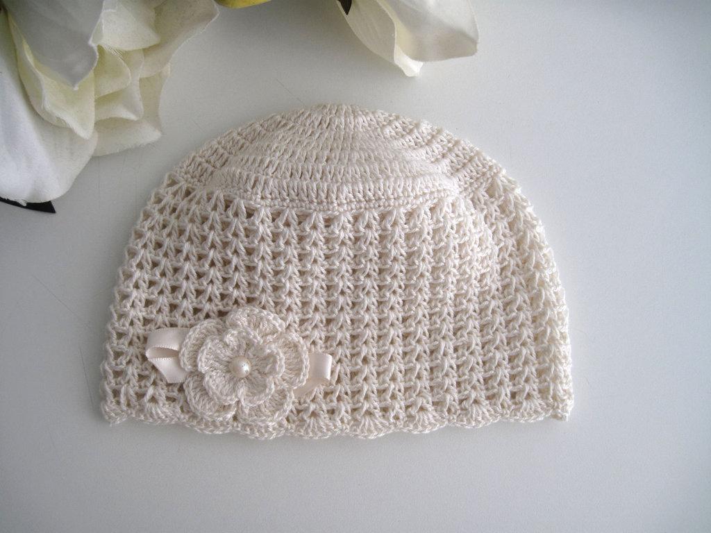 Cappellino Neonata Uncinetto Cotone Color Crema Cerimonia Nascita B