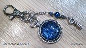 PORTACHIAVI ALICE 3 - con cabochon glitter blu verde viola