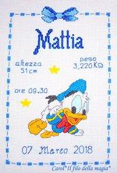 """Quadretto nascita - fiocco nascita - """"Baby Paperino 2"""" -punto croce- B22"""