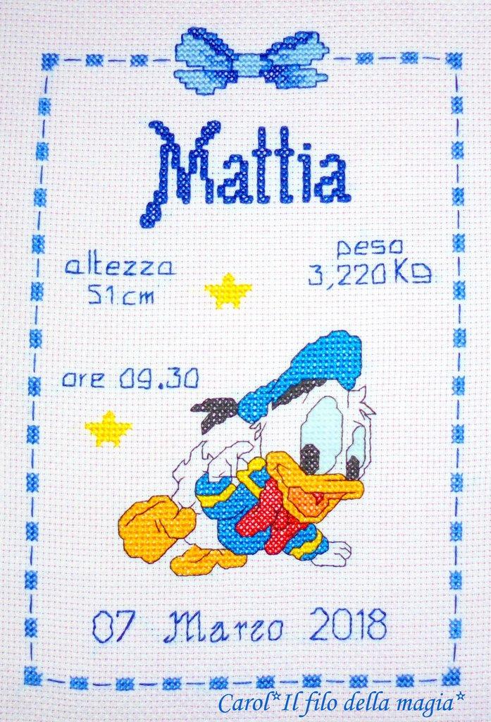 Quadretto nascita fiocco nascita baby paperino 2 for Quadretto nascita punto croce