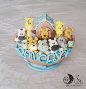 Cake topper arca giungla con nome personalizzato per bimbo e bimba