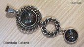 CIONDOLO CATENE 1 - con cabochon nero grigio argento