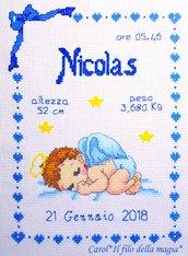 Quadretto nascita - fiocco nascita - ANGIOLETTO BIMBO -punto croce- B32