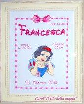 Quadretto nascita - fiocco nascita - PRINCIPESSA BIANCANEVE -punto croce- B105