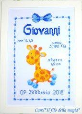 Quadretto nascita - fiocco nascita - ALLEGRA GIRAFFA BIMBO -punto croce- B110