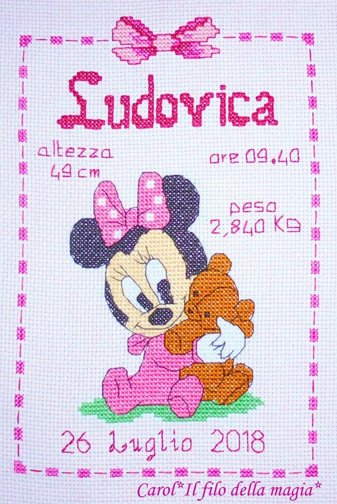Quadretto Nascita Fiocco Nascita Baby Minnie Orsetto Punto Croce B87