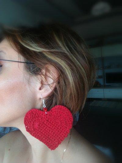 Orecchini grandi a cuore fatti a mano, orecchini pendenti grandissimi a forma di cuore, orecchini rossi
