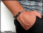 Bracciale uomo, cordoncino in cuoio con catena bicolore, idea regalo