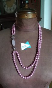 Collana filo di perle rosa e pietra opale rosa