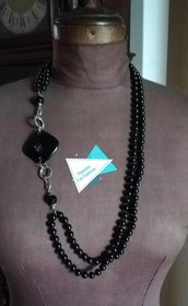 Collana filo di perle e onice a rombo