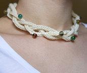 Collana da donna fatta a mano. 2 in 1 Collana e bracciale. Agata verde. Fatta a maglia