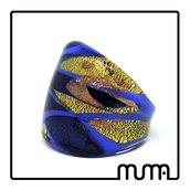 Anello donna blu a fascia in vetro di Murano comodo leggero e resistente