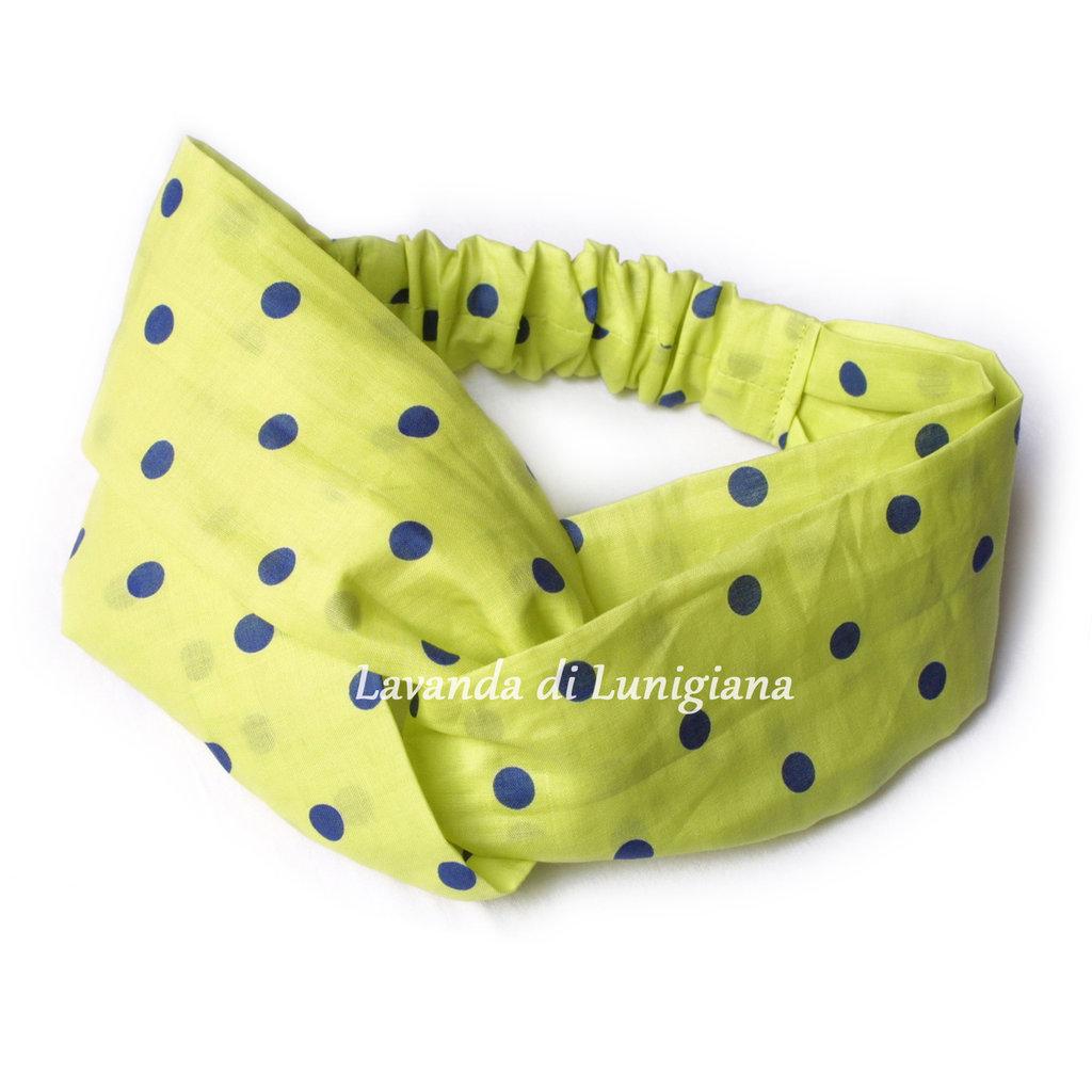 Fascia per capelli. Fatto a mano. Cotone. Pois. Verde. Blu. Polka dots. Headbands