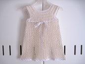 Vestitino vestito neonata uncinetto cotone color crema nascita