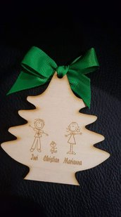 decorazione albero family legno