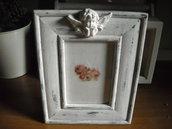Cornice Portafoto bianca  stile shabby  angioletto decorativo
