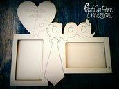 Cornice portafoto in legno per festa del papà con incisione personalizzata