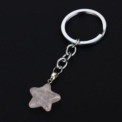 Portachiavi ciondolo stella in autentico quarzo rosa pietra dura naturale 7 chakra cristalloterapia