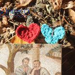 graffetta segnalibro / segnapagina decorata a mano all'uncinetto con farfalla o cuore