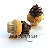 Orecchini cupcake - muffin con glassa al cioccolato - handmade idea regalo kawaii