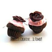 Orecchini cupcake - muffin con glassa alle fragole e rosa - handmade idea regalo kawaii