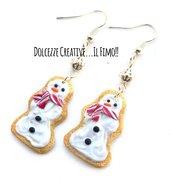 Natale in Dolcezze - Orecchini biscotti pupazzo di neve - cookie - miniature idea regalo natale