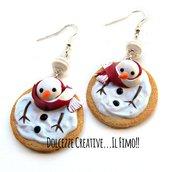 Natale in Dolcezze - Orecchini biscotti pupazzo di neve marshmallow sciolto - cookie - miniature idea regalo natale