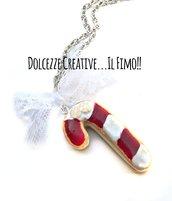 Natale in Dolcezze - Collana biscotto a forma di bastoncino di zucchero ripieno di crema - miniature