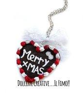 Natale in Dolcezze - Collana con biscotto a forma di cuore - pan di zenzero - merry christmas