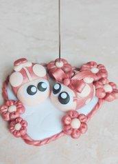 Portafoto o segnaposto coccinelle rosa perlato pasta fimo con cuore