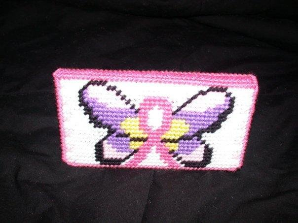 Handmade Breast Cancer Butterfly Checkbook Cover