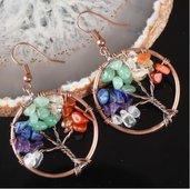 Orecchini Albero della Vita con pietre varie e bronzo