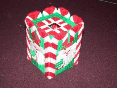Handmade Candy Cane Santa Tissue Box Cover
