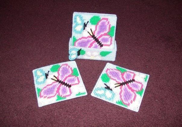 Handmade Pastel Butterfly Coasters
