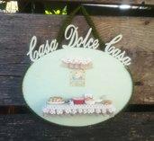 targa in legno per la casa, targhetta decorata, accessori fimo, miniature, decorazioni per la casa, arredamento, idea regalo, matrimonio