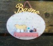 targa bagno, targhetta in legno, accessori in fimo, decorazioni per la casa, accessori casa, idea regalo casa nuova, matrimonio