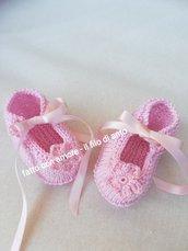 Scarpine bambina in rosa con fiore