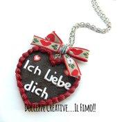 Collana Biscotto a forma di cuore - pan di zenzero - ich liebe dich - ti amo-  natale - handmade