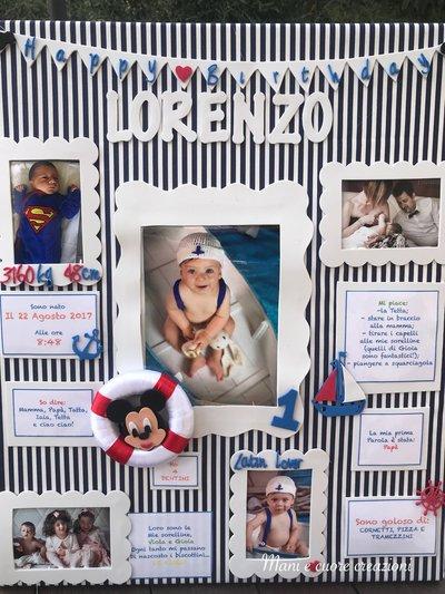 Tela tableau  personalizzata - primo compleanno