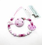 """Catenella portaciuccio rosa """"piccola principessa"""" con cuore e clip """"I ❤️ mom"""""""