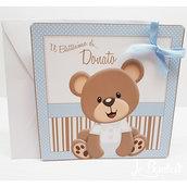 Invito Orsetto Baby Battesimo Compleanno  completo stampa busta biglietto