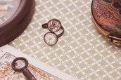 Anello stile vintage antico con cabochon fiori antichi - Idea regalo - Gioielli vintage