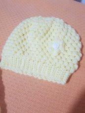 Copertina trapuntino trapunta gialla e bianca + cappellino abbinato