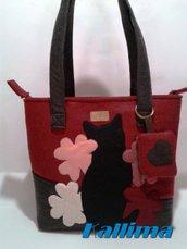 Borsa in feltro BLACK CAT,  decorazioni in pannolenci fatta a mano