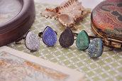 Anello druzy cristallo naturale colorato a goccia - Stile shabby - Vintage - Antico - Anelli regolabili